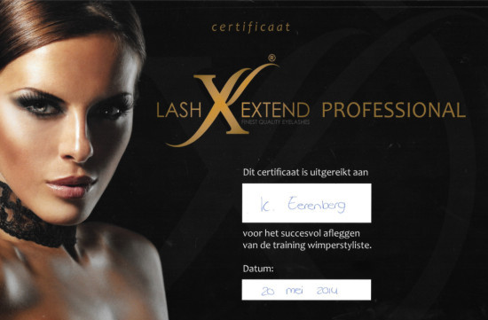Certificaat One By One wimperextensions Lash Extend Beauty Berley 2014