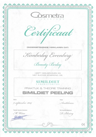 Certificaat Simildiet Beauty Berley 2014