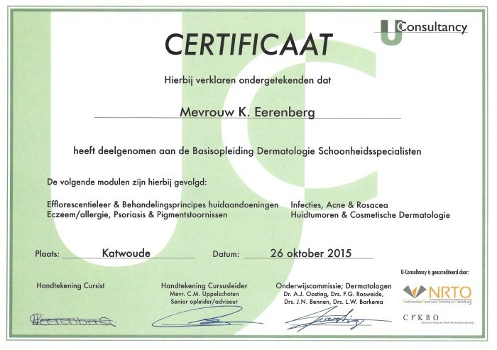 Certificaat U-consultancy Dermatology Beauty Berley 2015